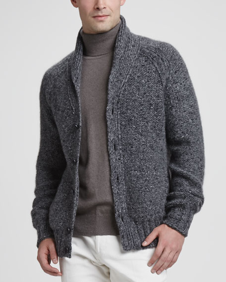Tweed Shawl-Collar Cardigan, Dark Gray