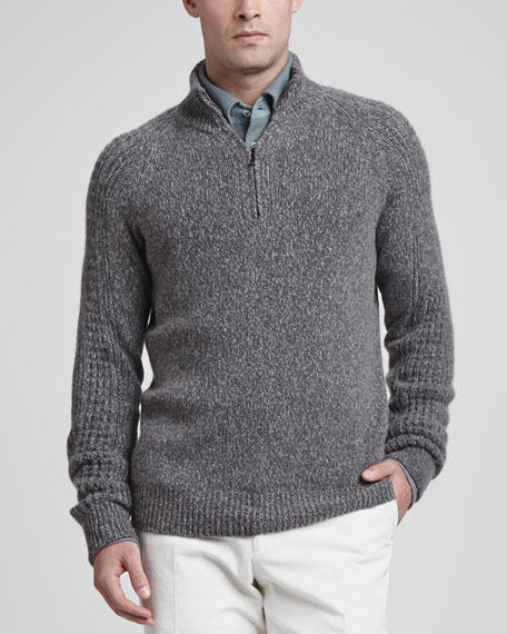 Mezzocollo Cashmere Pullover Sweater, Gray
