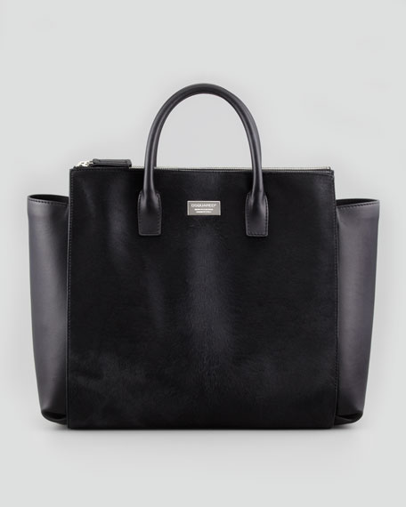 Calf Hair Tote Bag, Black