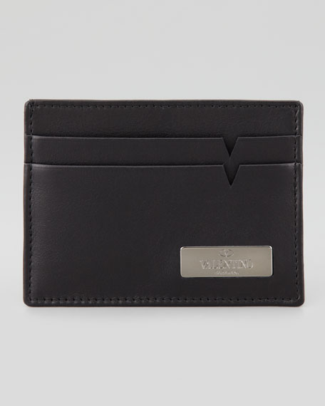 Leather Logo Card Case, Black