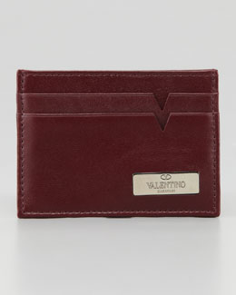Valentino Leather Logo Card Case, Red