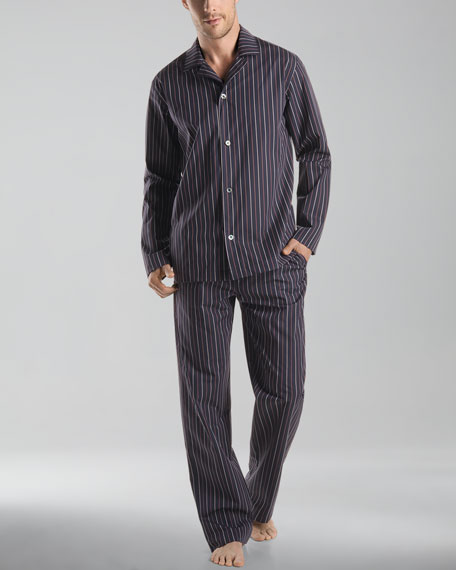 William Long-Sleeve Pajama Set, Black Iris