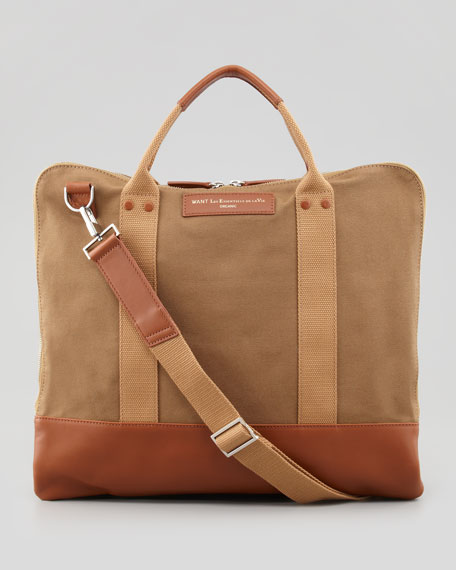 Men's Canvas Commuter Bag, Beige