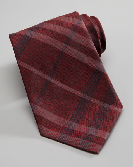 Check Silk Tie, Damson Red