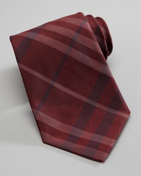 Check Silk Tie, Damson Red