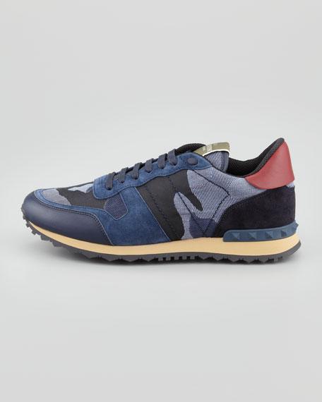 Rockstud Camo-Print Sneaker, Blue