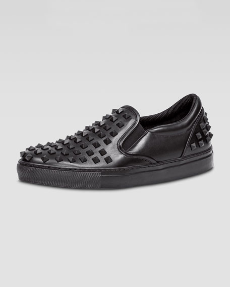 Valentino Rockstud Men S Slip On Sneaker Black Neiman Marcus