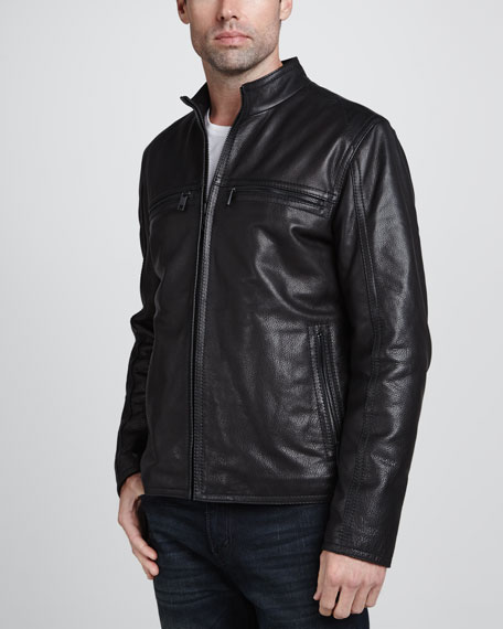 Galaxy Leather Zip-Front Moto Jacket, Black