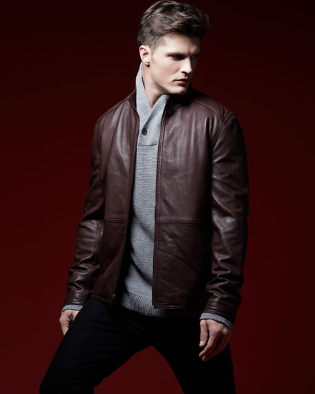 Links Stand-Collar Leather Jacket, Oxblood