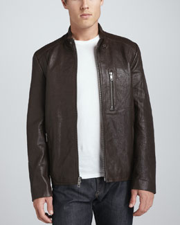 Andrew Marc Madden Leather Moto Jacket, Espresso