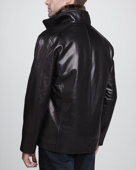 Sawyer Rabbit-Fur Lined Leather Jacket, Black