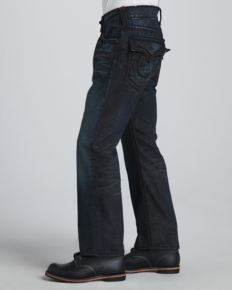 Distressed Jean in Collateral Dark Wash