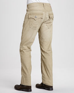 True Religion Ricky Straight-Leg Corduroy Pants, Tan