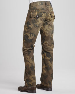 True Religion Ricky Distressed Camouflage Jeans, Green