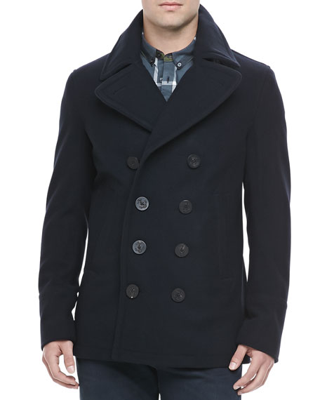 Burberry Brit Men's Wool-Cashmere Pea Coat, Navy