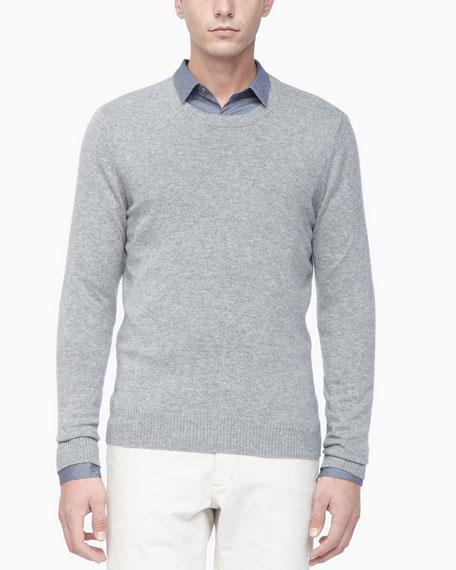 Crew Neckline Cashmere Sweater, Light Gray