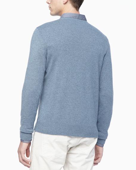 Crew Neckline Cashmere Sweater, Light Blue