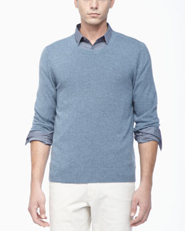 Theory Crew Neckline Cashmere Sweater, Light Blue