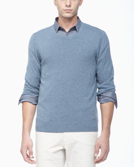 Crew Neckline Cashmere Sweater, Light Blue