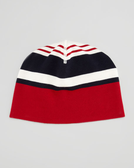Striped Wool-Knit Beanie, Red/White/Navy