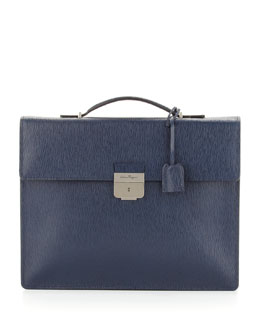 Salvatore Ferragamo Revival Single-Gusset Briefcase, Blue