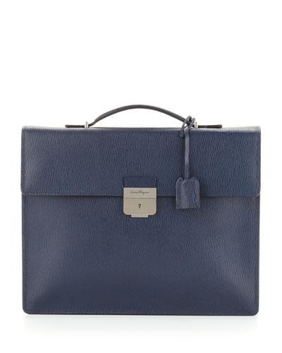 Salvatore Ferragamo Revival Single-Gusset Briefcase, Blue