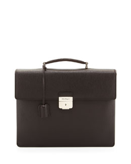 Salvatore Ferragamo Revival Double-Gusset Briefcase, Brown