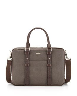 Salvatore Ferragamo New Form Canvas/Leather Briefcase, Brown