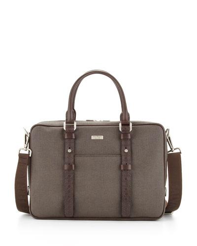 Salvatore Ferragamo New Form Canvas/Leather Briefcase, Brown