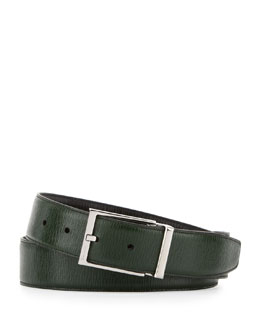 Salvatore Ferragamo Reversible Revival Leather Belt, Green/Black