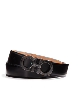 Salvatore Ferragamo Men's Double-Gancini Belt with Mother-of-Pearl Buckle, Black