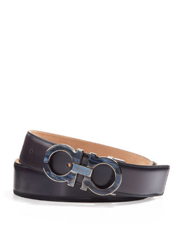 Salvatore Ferragamo Men's Double-Gancini Belt with Mother-of-Pearl Buckle, Blue