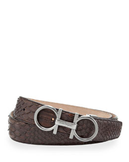 Salvatore Ferragamo Python Double-Gancini Belt, Tan