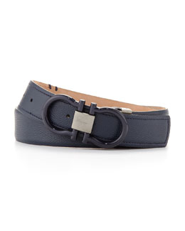Salvatore Ferragamo Pebbled Double Gancini Belt, Blue