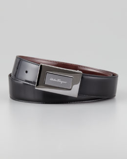 Salvatore Ferragamo Reversible Plaque Belt, Black/Brown