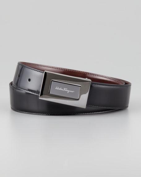 Reversible Plaque Belt, Black/Brown