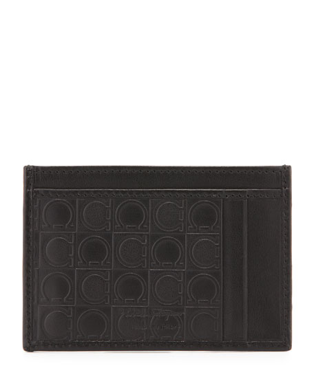 New Form Gancini-Embossed Card Case, Gray
