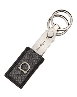 Salvatore Ferragamo New Form Valet Key Chain, Gray