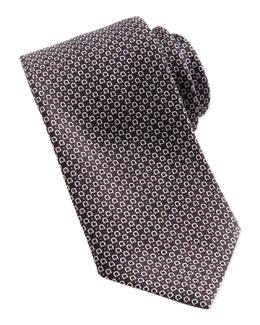 Salvatore Ferragamo Woven Gancini Silk Tie, Black