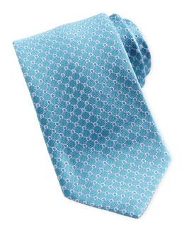 Salvatore Ferragamo Woven Micro-Gancini Silk Tie, Aqua