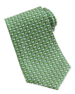 Salvatore Ferragamo Snail-Print Silk Tie, Green
