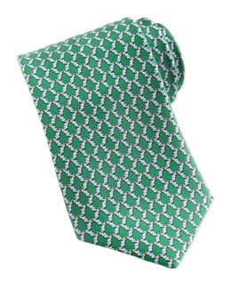 Salvatore Ferragamo Alligator-Print Silk Tie, Green