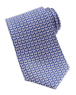 Salvatore Ferragamo Horse-Print Silk Tie, Green