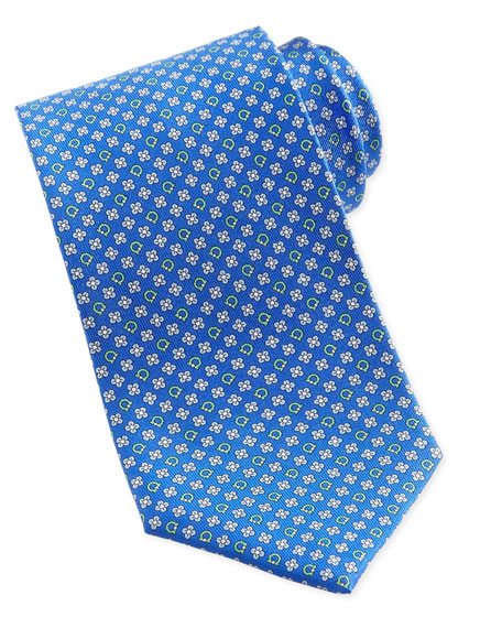 Gancini & Flower Silk Tie, Blue