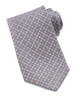 Salvatore Ferragamo Gancini & Flower Silk Tie, Gray