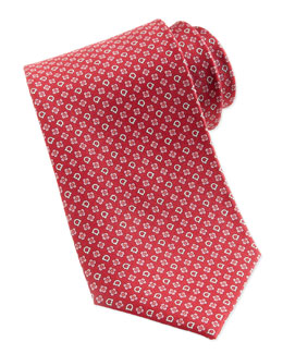 Salvatore Ferragamo Gancini & Flower Silk Tie, Red