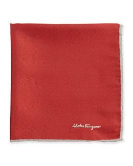 Salvatore Ferragamo Silk-Twill Pocket Square, Red