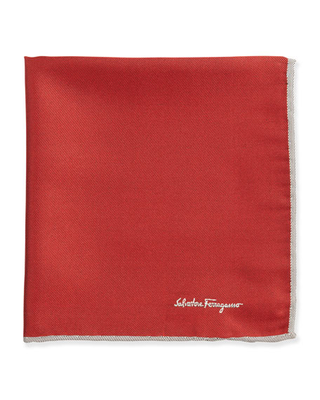 Silk-Twill Pocket Square, Red