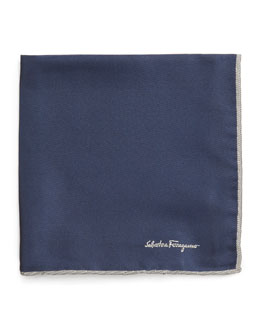 Salvatore Ferragamo Silk-Twill Pocket Square, Navy