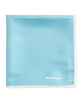 Salvatore Ferragamo Silk-Twill Pocket Square, Aqua